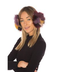 Hat Attack - Multicolor Luxe Earmuff With Fox Fur In Black. - Lyst