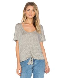 Chaser Gray Tie Front Tee