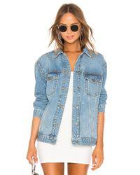 Free People Blue Studded Denim Trucker Jacket. Size XS.