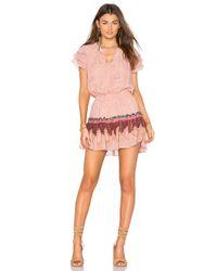 MISA Pink Suri Ruffle Sleeve Dress