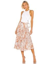 Vince Orange Marine Garden Pleated Skirt