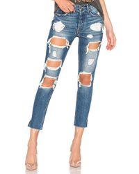 Pantalon Taille Haute Karolina GRLFRND en coloris Blue