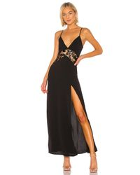 superdown Black Crystal Lace Maxi Dress