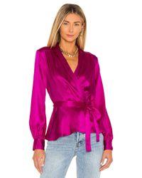 L'Agence Purple Marsden Wrap Blouse