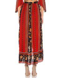 Band Of Gypsies Red Bohemian Ruffle Skirt