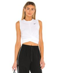 Nike White Twist Crop Tank