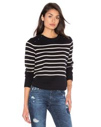 525 America Black Stripe Crew Neck Sweater