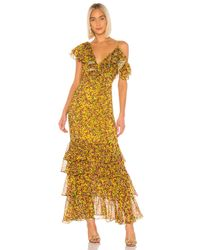 Divine Héritage Yellow Ruffle Tier Gown