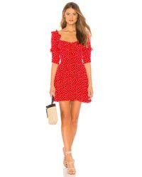 For Love & Lemons Red X REVOLVE Buttoned Mini Dress