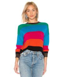 Pam & Gela Blue Crop Striped Sweater