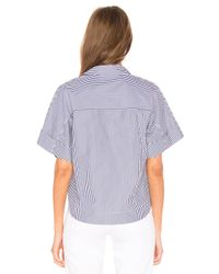 Theory Blue Cropped Button Down Top