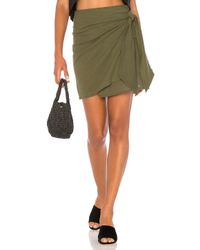 Faithfull The Brand Green Acadia Skirt In Plain Khaki