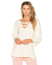 Line & Dot - Natural Larch Lace Up Top - Lyst