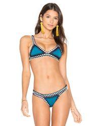 KIINI - Blue Flor Triangle Bikini Top - Lyst