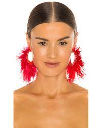 Ranjana Khan Feather Hoop イヤリング Red