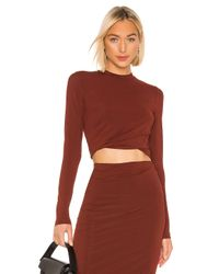 T By Alexander Wang Red Twisted Long Sleeve Top