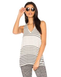 Beyond Yoga Gray Bring It Ombre Striped Racer Tank