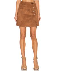 1.STATE Brown Side Button A Line Mini Faux Suede Skirt