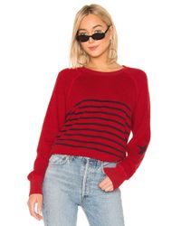 Sundry Red Striped Raglan Pullover