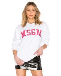 MSGM White Logo Sweatshirt