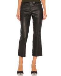 Theory Black Leather Bristol Crop Pant