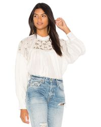 Free People - Have It My Way Embroidered Top In White - Lyst