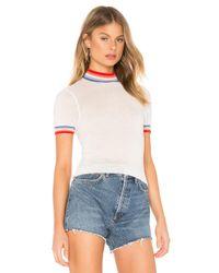 Spiritual Gangster White Rainbow Stripe Crop Sweater Tee