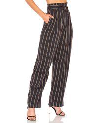 Vince - Black Belted Stripe Wide Leg Pant - Lyst