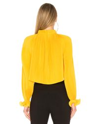 Tibi - Yellow Pleated Crop Top - Lyst