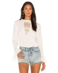 Band Of Gypsies - White Crochet Inset Blouse - Lyst