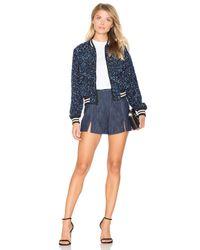 Alice + Olivia Blue Lonnie Cropped Bomber Jacket