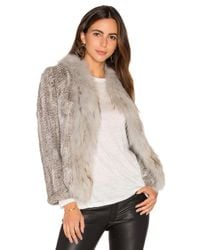 Arielle | Gray Frill Collar Jacket With Fox And Rabbit Fur | Lyst