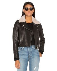 Doma Leather | Natural Detachable Lamb Shearling Fur Collar Aviator Moto Jacket | Lyst