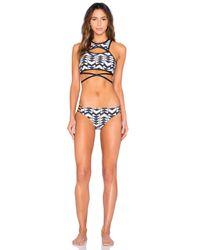 Ella Moss | Blue Zaire Side Strap Bikini Bottom | Lyst