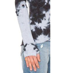 Enza Costa Multicolor Cashmere Cuffed V Neck Top