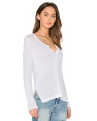 Feel The Piece White Kimmi Henley Tee