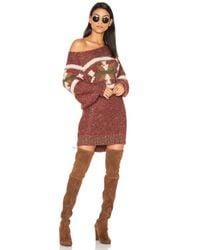 Free People | Red Northern Lights Sweater Mini Dress | Lyst