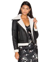 Glamorous | Black Wool & Leather Jacket With Faux Sherpa Lining | Lyst