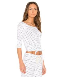 Monrow White Swiss Dot Off The Shoulder Top