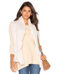 June | White Shawl Rabbit Fur Vest | Lyst