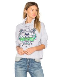 KENZO Gray Embroidered Tiger Hoodie