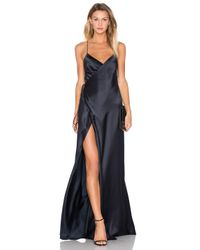 Michelle Mason Blue Strappy Wrap Gown
