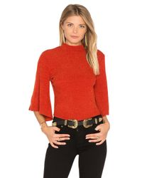 MINKPINK | Red Rib Flare Sleeve Reversible Top | Lyst