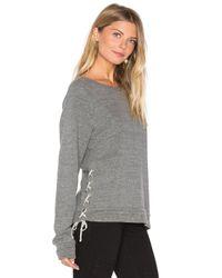 Michael Lauren Gray Bryce Lace Up Sweatshirt