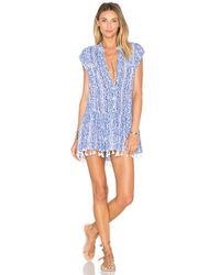 Poupette Blue Heni Fringe Tank Crepe Dress