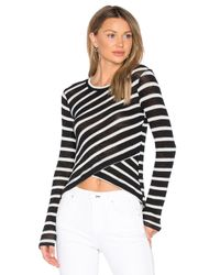 Splendid | Black Stripe Crossfront Top | Lyst