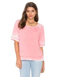Splendid | Pink Burnout Active Short Sleeve Sweatshirt | Lyst