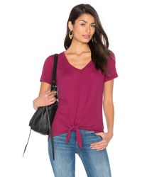 Splendid | Pink Codette Mini Variegated Rib Stripe Tied Waist Tee | Lyst
