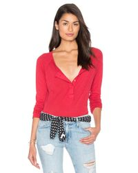 Splendid | Multicolor Slub Buttoned Long Sleeve Top | Lyst