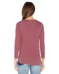 Stateside Red Skinny Stripe Lace Up Tee